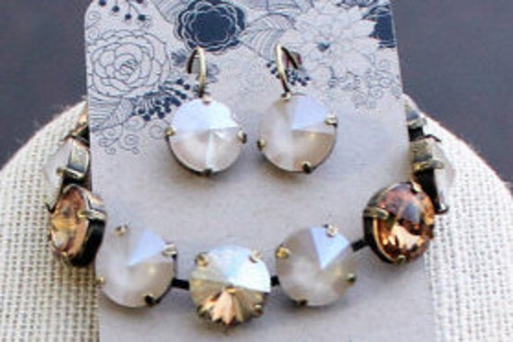 12mm Swarovski Crystal Bracelet and Earring Set-Light Colorado Topaz, Crystal Ivory Cream, and Golden Shadow-empty cup chain