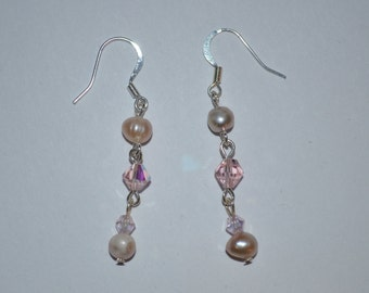 Earrings, handmade pink freshwater pearl and glass beaded fishhook earrings