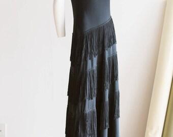 Gatsby Dress | Black Gatsby Dress | Fringe Maxi Dress | Fringe  Dress | Swing Dress | Vintage Fringe Dress |