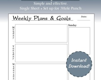Simple Blank Weekly Planner, Weekly Goals, Planning, Goals, Portrait, Letter Size, Printable, Instant Download