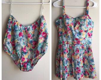 Vintage 60s Swimsuit | High Waisted Vintage Bathing Suit | Floral Pattern Boho Swimsuit | Pleated Skirt Bathing Suit | Peplum Swimwear
