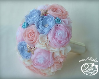 Wedding bouquet from textile flowers