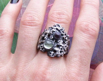 Unusual ring, Unique ring, Meteorite silver ring,Multistone ring,Rustic ring,Statement ring,Lava ring,Fantasy ring,Cosmic ring,Textured ring