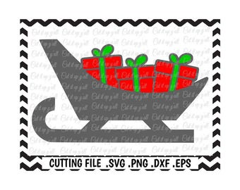 Santa Sleigh SVG, Christmas Presents,Svg- Png-Dxf-Pdf-Eps, Cut Files for Silhouette Cameo/Cricut, Svg Download.