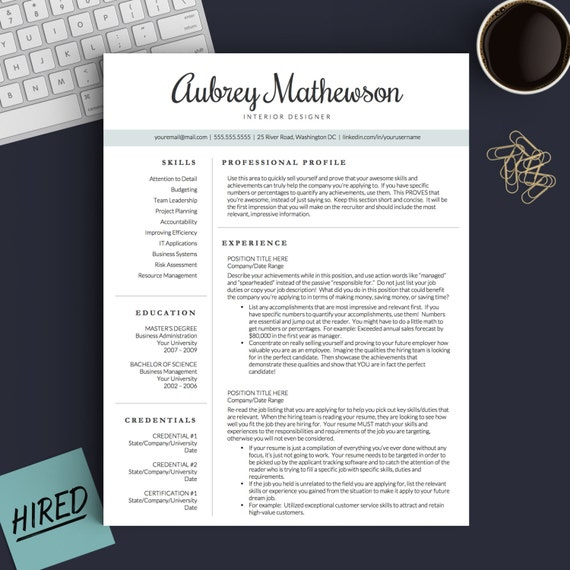 creative resume template for word pages 1 2 and 3 page