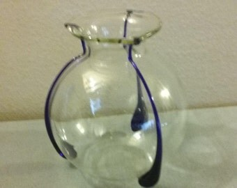Vintage Handmade Poland Mid-Century Crystal Accent Globe Vase/Centerpiece;  Superb Condition