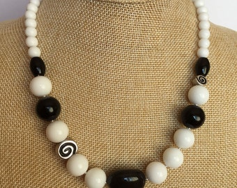 White Agate with  Black Onyx Statement necklace