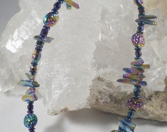Iridescent Colors on Titanium Coated Quartz and Czech Glass Beaded Necklace