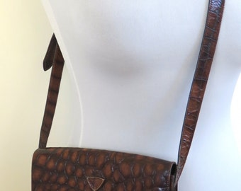 Vintage Joop brown leather mock croc shoulder/cross body/messenger bag