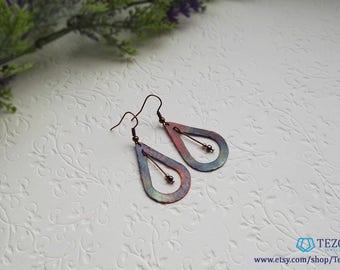 Teardrop copper dangle earrings, fired copper earrings, gift for girlfriend