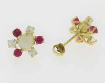 50% OFF Antique Pearl, Red and White Topaz Flower Stud Earrings- 14k Yellow Gold