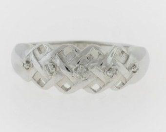 Basket Weave Diamond Ring-10k White Gold
