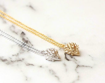 Tiny Hedgehog Necklace, Animal Necklace, Brass Necklace, Gold Plated Necklace
