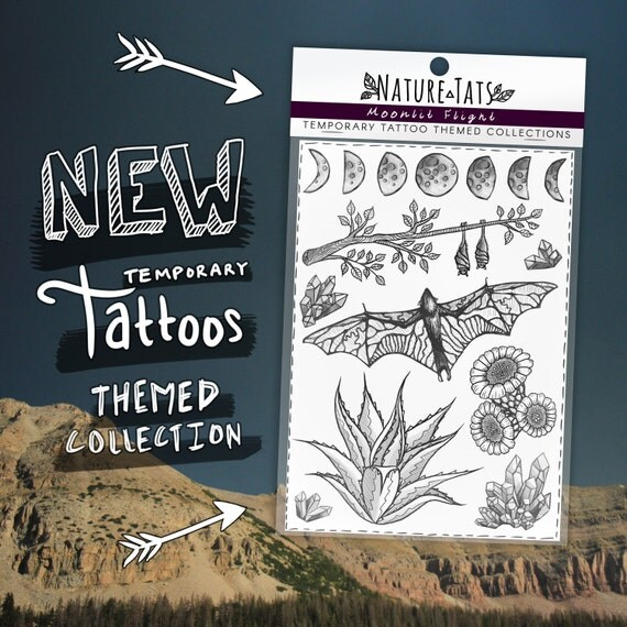 Themed Collection ~ Moonlit Flight ~ Original Temporary Tattoos, Bats, Agave, Cactus Flower, Crystals and Moon Phases