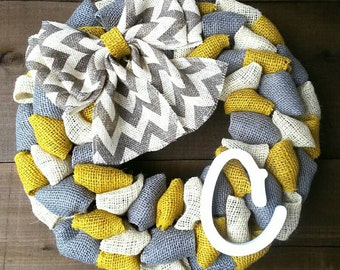 Spring wreath summer wreath monogrammed wreath burlap wreath chevron wreath yellow wreath and gray wreath rustic wreath shabby chic wreath
