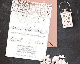 Rose gold save date | Etsy