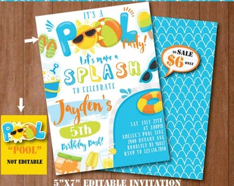 Pool Party Invitation-Self-Editing Printable Pool Birthday Invite-Summer Party-Pool Side Party-splash Party-First Birthday-Any age-A131-B