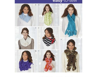 Sewing Pattern for Assorted Scarves, Simplicity Pattern 1235, Winter Accessories, Fleece Scarves to Sew, Neckwarmers, Novelty Scarf, Cowl