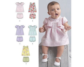 Sewing Pattern for Babies' Dress w/ Panties, Simplicity 8346, Baby Girl Dress, Infants Dress & Panties, Premie-24 months, Dress Up or Casual