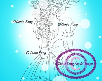 SALE Digital Stamp, Digi Stamp, digistamp, Braids In My Hair by Conie Fong, Coloring Page, girl, flower, dress, color page, sweet sixteen