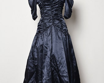 1980's Vintage Black Satin Dress With Ruffle Bodice and 3/4 Sleeves