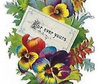 12 Victorian Valentine Bouquets W/Sentimental Sayings: Victorian Die Cut Scraps