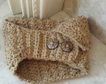 Beige scarf, crochet scarf, button scarf, crochet cowl, infinity scarf, winter scarf, neck warmer scarf, crochet items, crocheted scarf