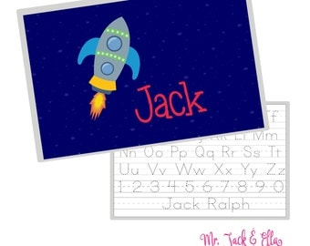 Rocket Placemat - Space Personalized Placemat - Children's Placemat - Child Placemat - Laminated Placemat