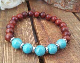 Mala bracelet/  Rosewood/ turquoise magnesite/ Stainless steel beads/ Yoga bracelet/  Energy bracelet/ Boho bracelet/ gemstone bracelet