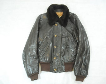Vintage English Brown Leather Pilots Flight Style Jacket The Hardware Clothing Company 38 Small
