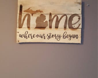 Home where our story began Michigan rustic wood sign