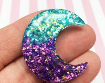Glitter Purple & Blue Moon Kawaii Resin Flat Back, (R010)