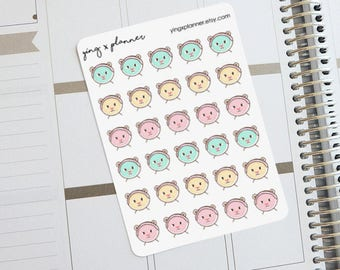 Poko the Bear Beauty Time Planner Stickers 01 || face mask planner stickers, facial mask stickers, facial care planner stickers