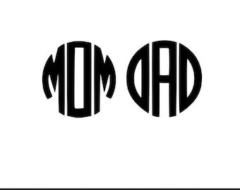 mom circle monogram svg dxf jpeg png file stencil monogram frame silhouette cameo cricut clip art commercial use