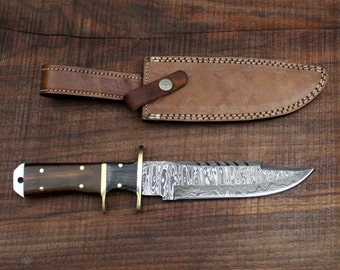 Sicario No. 3 - Damascus Steel Hunting Survival Knife with Walnut and DW Scales