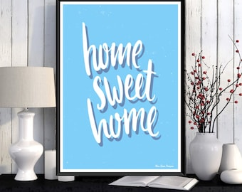 Home sweet home, Home wall art decor, Poster quote, Word art, Digital typography, Inspirational quote poster, Modern design, Quote print