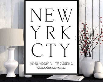 New York Poster, New York print, Wall Art decor, New York city print, NYC city poster, NYC print, New York printable, Typography print