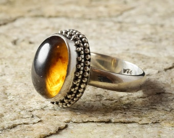 Size 7 AMBER Ring Sterling Silver Bezel Ring - Natural Amber Stone Cabochon J672