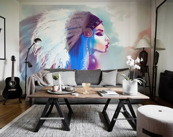 Boho Style Removable Wallpaper, Bohemian Girl Wall Decal, Bohemian Removable Wallpaper, Bohemian Home Decor - OW019