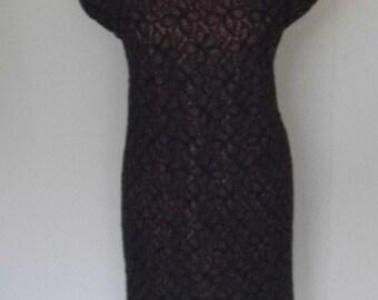1950/60s handmade wiggle dress size 14 bust 38, waist up to 34/36