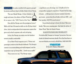 1991 Mazda Navajo vintage magazine ad wall decor (1705)