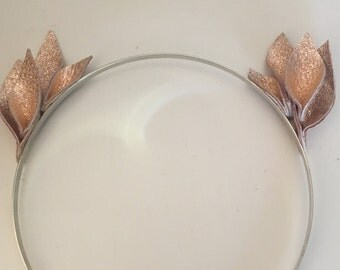 Fascinator - Mini Rose Gold Leather Flower Crown