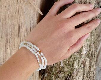 Kwan Yin, bracelet 3 rows in jadeite jade and silver