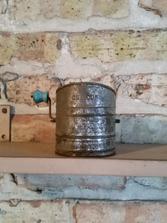 Antique Tin Crank Style Flour Sifter / Measuring Cup   Turquoise Blue Wood Handle   1940's Rustic Vintage Kitchen Decor