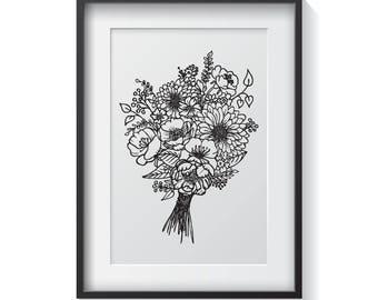 Floral Bouquet Print / Botanical Illustration / Black & White / Home Decor / Art Print / Adult Colouring / Digital Download