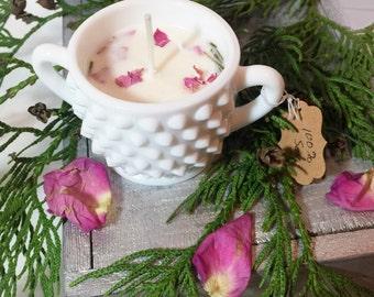 Hobnail Milk Glass Sugar Bowl | Rose Cedarwood Pine (soy)