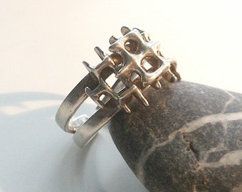 Studio Else & Paul modernist sterling silver ring. Norwegian design