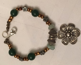 Ann Lydia Silver Flower Charm and Bead Bracelet