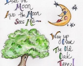 Way Up Over The Old Oak Tree - Signed Print