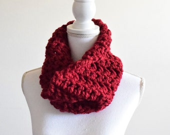 Chunky knit crochet cowl scarf ~ cranberry ~ Trees & Arrows cowl